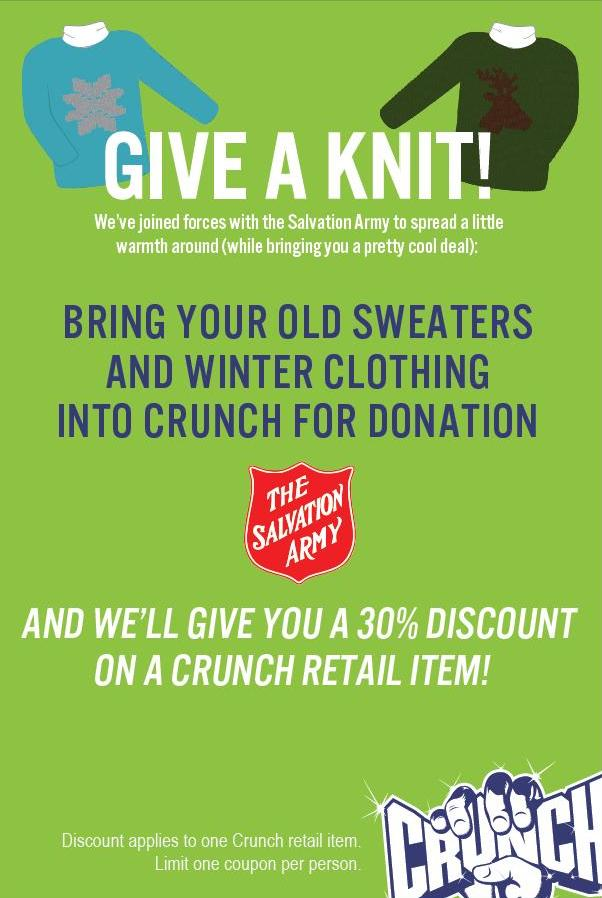 Donate your old sweaters to Crunch to get a discount