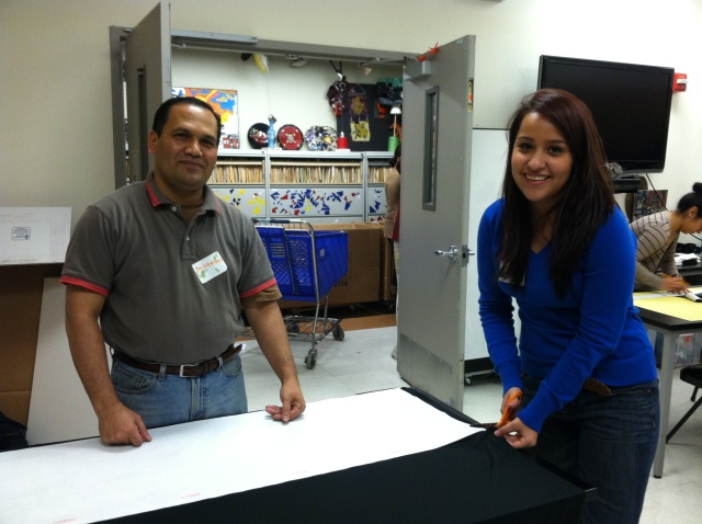 Mohammad and Itzel, NY Cares volunteers, hard at work
