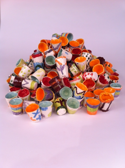 Cups in pile