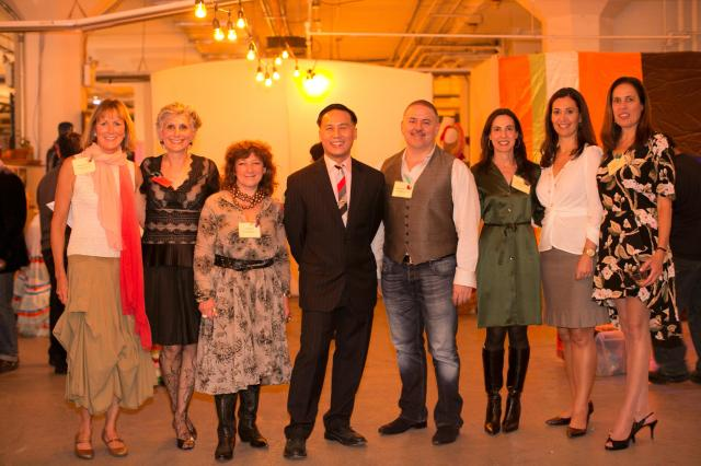 MFTA staff, board and donors, from left to right, Barbara Korein,  Harriet Taub, Anelle Miller, BD Wong, Matthew David Hopkins, Bonnie Weissblatt Weill, Stacy Papas, Andrea Schaffer Photo Credit: Kevin Alano